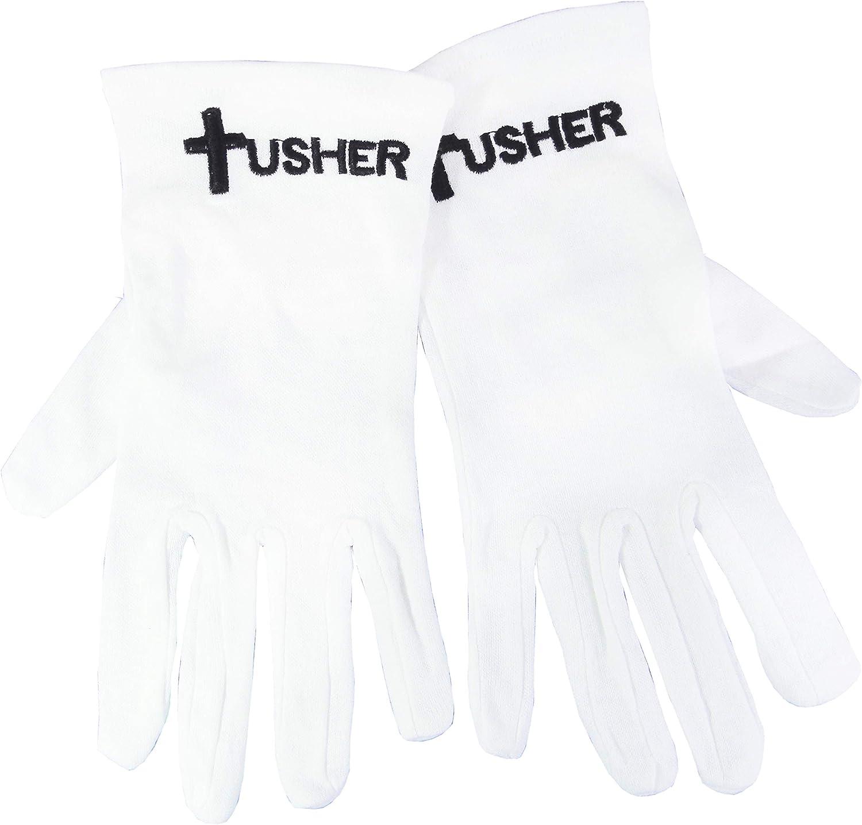 Gloves-Usher w//Cross White Cotton-Medium