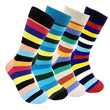 f013d8d66d05 Funky Striped Colorful Dress Socks - HSELL 4 Pairs Calf Socks for Mens,  Womens: Amazon.co.uk: Clothing