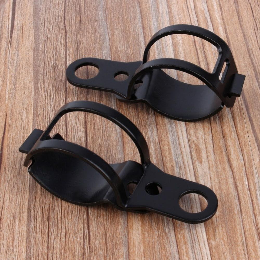 pince de fixation de fourche de clignotant universel Support de clignotant moto pinces de relocalisation de fourche en m/étal de 30-43mm noir 2 pcs//paire