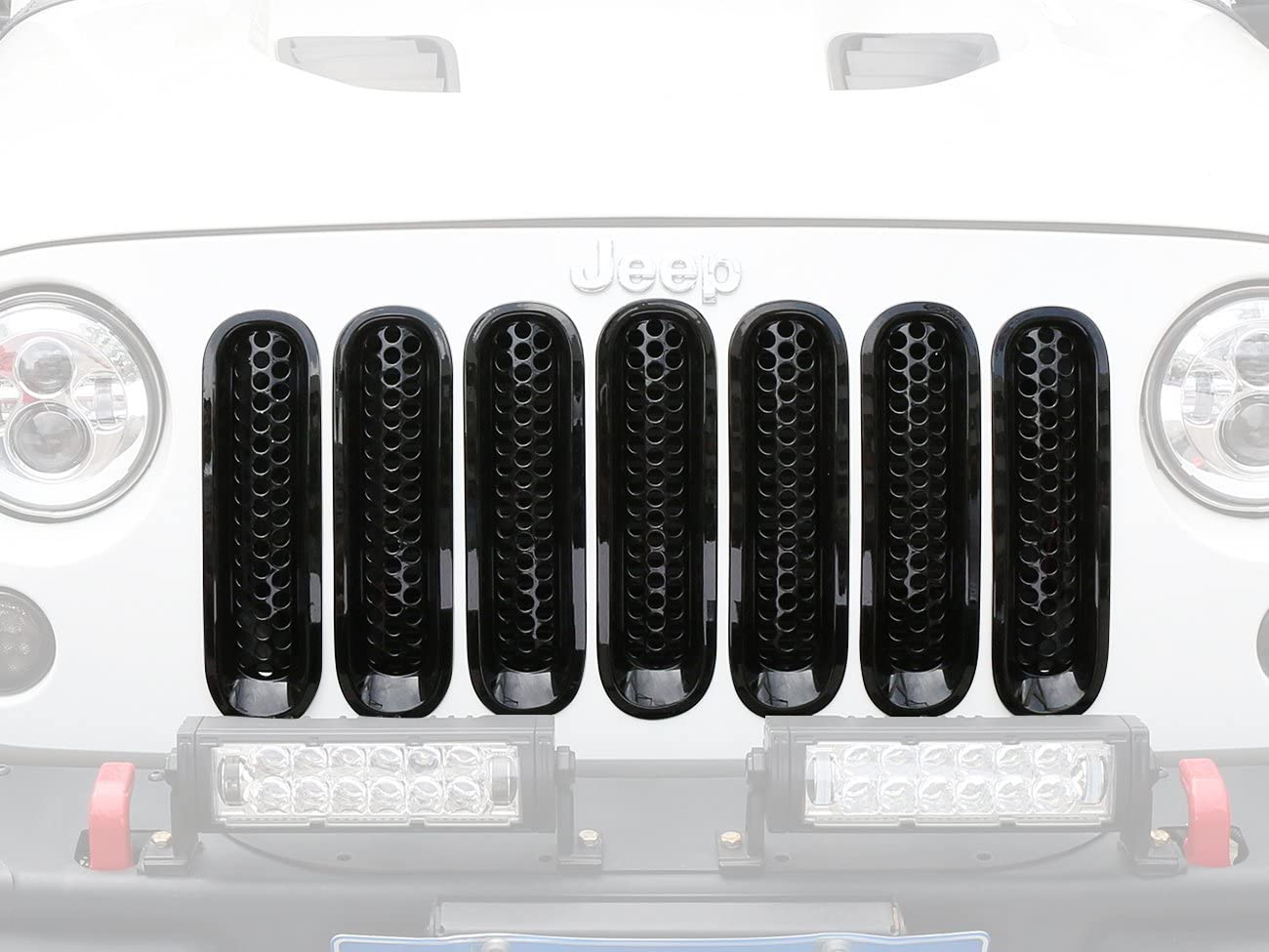 Upgrade Clip in Version Pack of 7 DQDZ Shiny Black Front Mesh Grille Insert