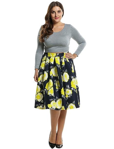 64a642da2cc Meaneor Women Print Pleated Knee Length Casual Party Slim Tutu Plus Size  Skirt