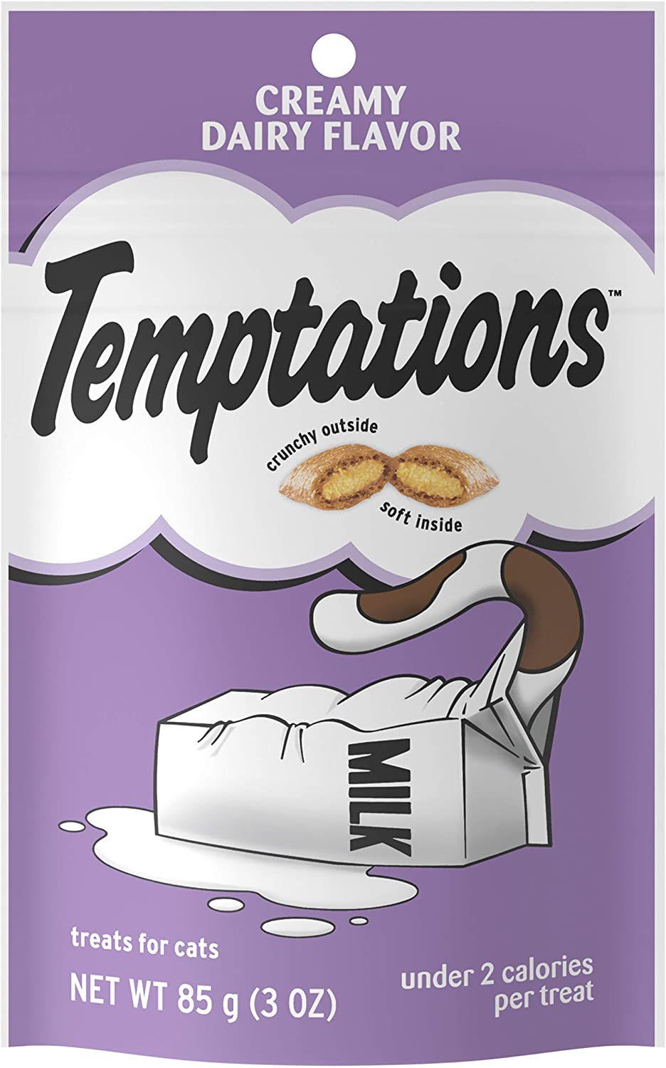 TEMPTATIONS Classic Crunchy and Soft Cat Treats Creamy Dairy Flavor, 3 oz. Pouch, Pack of 12