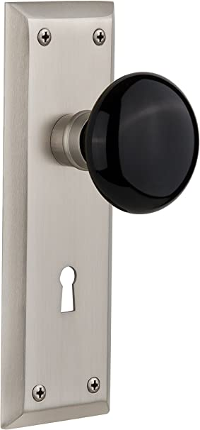 Nostalgic Warehouse New York Plate With Keyhole Black Porcelain Knob Single Dummy Satin Nickel Doorknobs Amazon Com