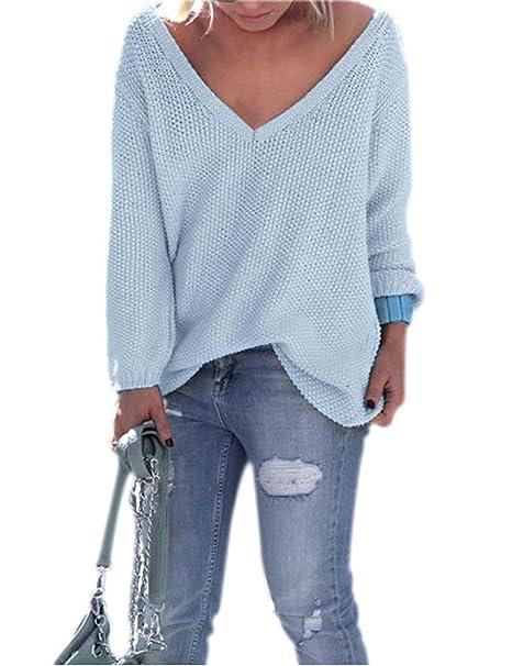 Suéter Mujer de Punto Manga Larga Amplio V-cuello Pullover Jerséis Moda para Otoño /