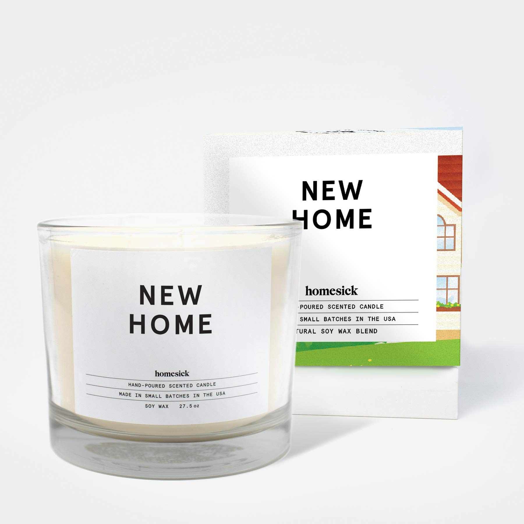 Homesick 3 Wick Scented Candle, Soy Wax - 27.5 oz (90 to 110 hrs Burn Time) New Home