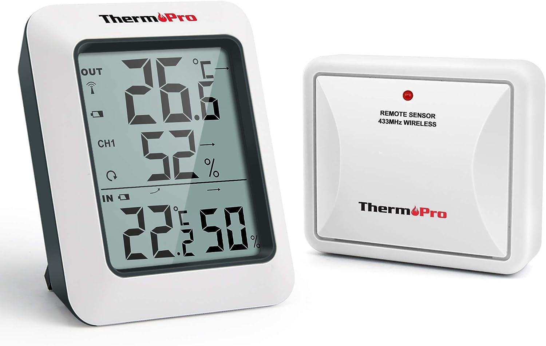ThermoPro TP60S Termómetro Higrometro Digital para Interior y Exterior Termohigrómetro Inalámbrica con Sensor Remoto para Hogar Ambiente Medición de Humedad y Temperatura