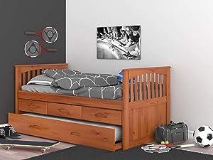 Discovery World Furniture 2135-82192EKT-2190 Rake Bed, Twin, Honey