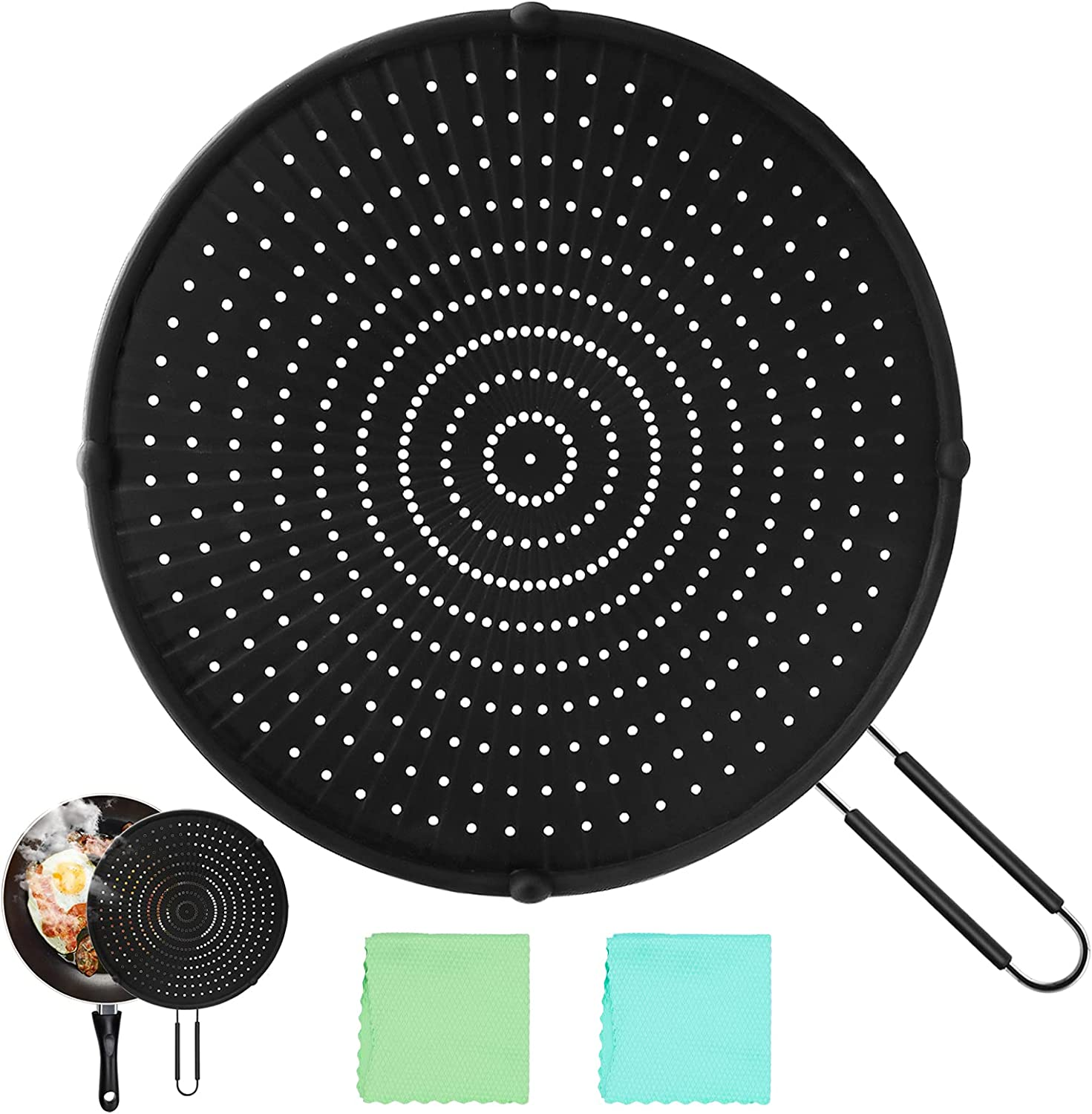 Silicone Splatter Screen for Frying Pan, 13 In High Heat Resistant Oil splatter Guard Universal Pan Cover, Food Safe Heat Insulation Cooling Mat, Strainer, Drain Board, Oil Splash Guard for Frying Pan