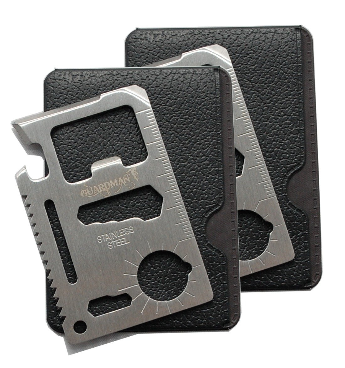 Guardman 2pcs 11 in 1 Multi Tool Credit Card Survival Tool Fits Perfect in Your Wallet 2 Pack Christmas Gifts for Men Stocking Stuffers for Men