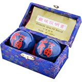 """Feng Shui Baoding Chinese Health Exercize Stress Relief Balls 4.2cm/1.7"""" Fengshuisale Red String Bracelet F1107"""