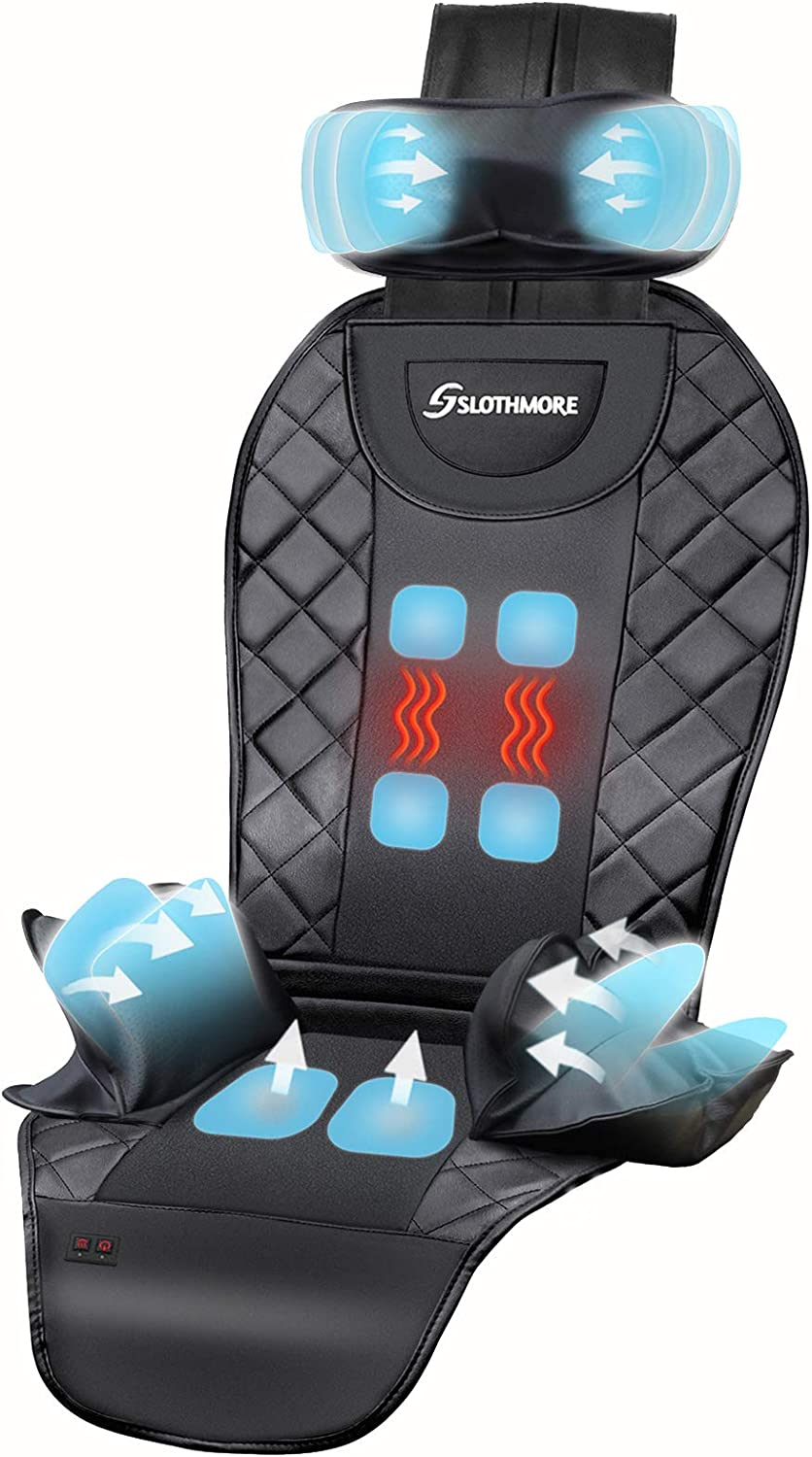 Back Massager with Air Compress & Heat-Deep Tissue Shiatsu Massage Seat Cushion for Car,Home or Office Chair Use,Electric Body Massager Helps Relieve Stress and Fatigue for Neck,Back and Hips