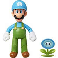 "Nintendo Super Mario Collectible Ice Luigi 4"" Poseable Articulated Action Figure with Ice Flower Accessory, Perfect For Kids & Collectors Alike! For Ages 3+"
