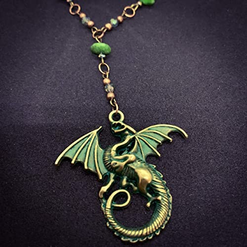 5 pcs Antique Style Copper Green Eagle Charms Necklace Pendant Jewelry Making