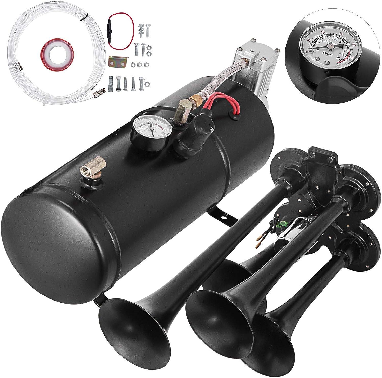 QINQI Tromba Daria a Forma di Lumaca Tromba Automatica Impermeabile 12V 130Db Tromba per Auto Forte Kit Clacson Elettrico Bicolore Universale per Tutti I Veicoli 12V Nero