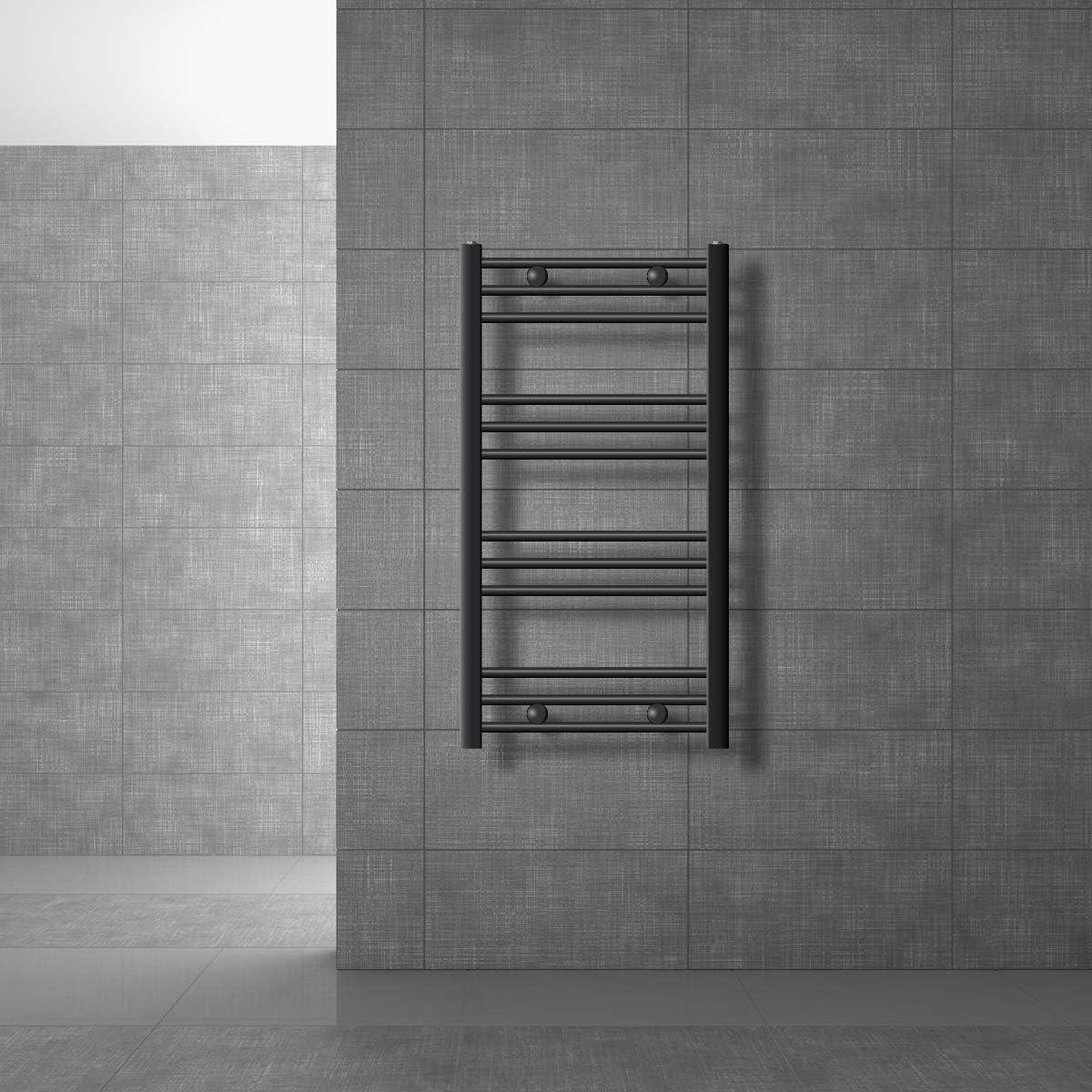 ECD Germany Sahara Radiador toallero - 500 x 800 mm - Antracita - curvado con conexión lateral - Radiador de toallas para baño agua calefaccion