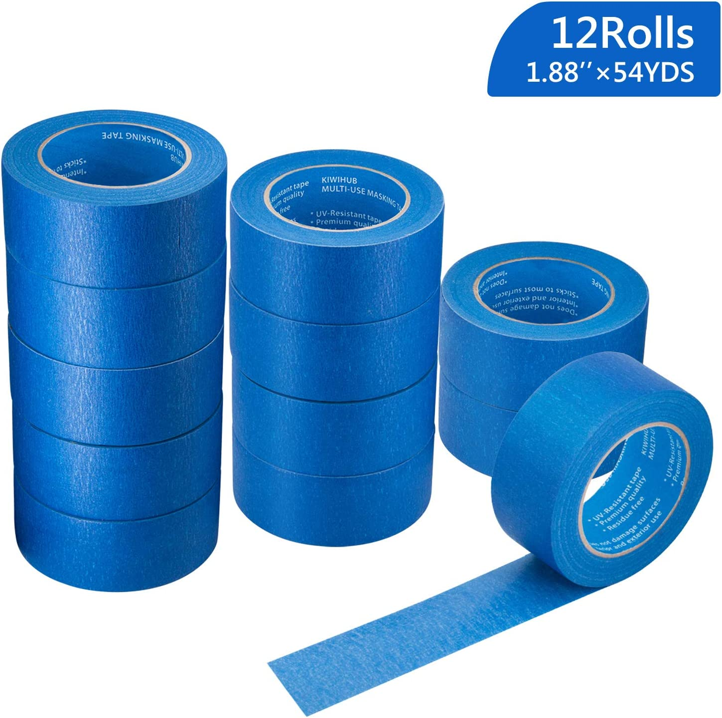 "12 Rolls 2"" (1.88 /48Mm) X 54 Yds Pro-Grade Blue Painters Tape, Medium Adhesive That Sticks Well But Leaves No Residue Behind By Kiwihub"