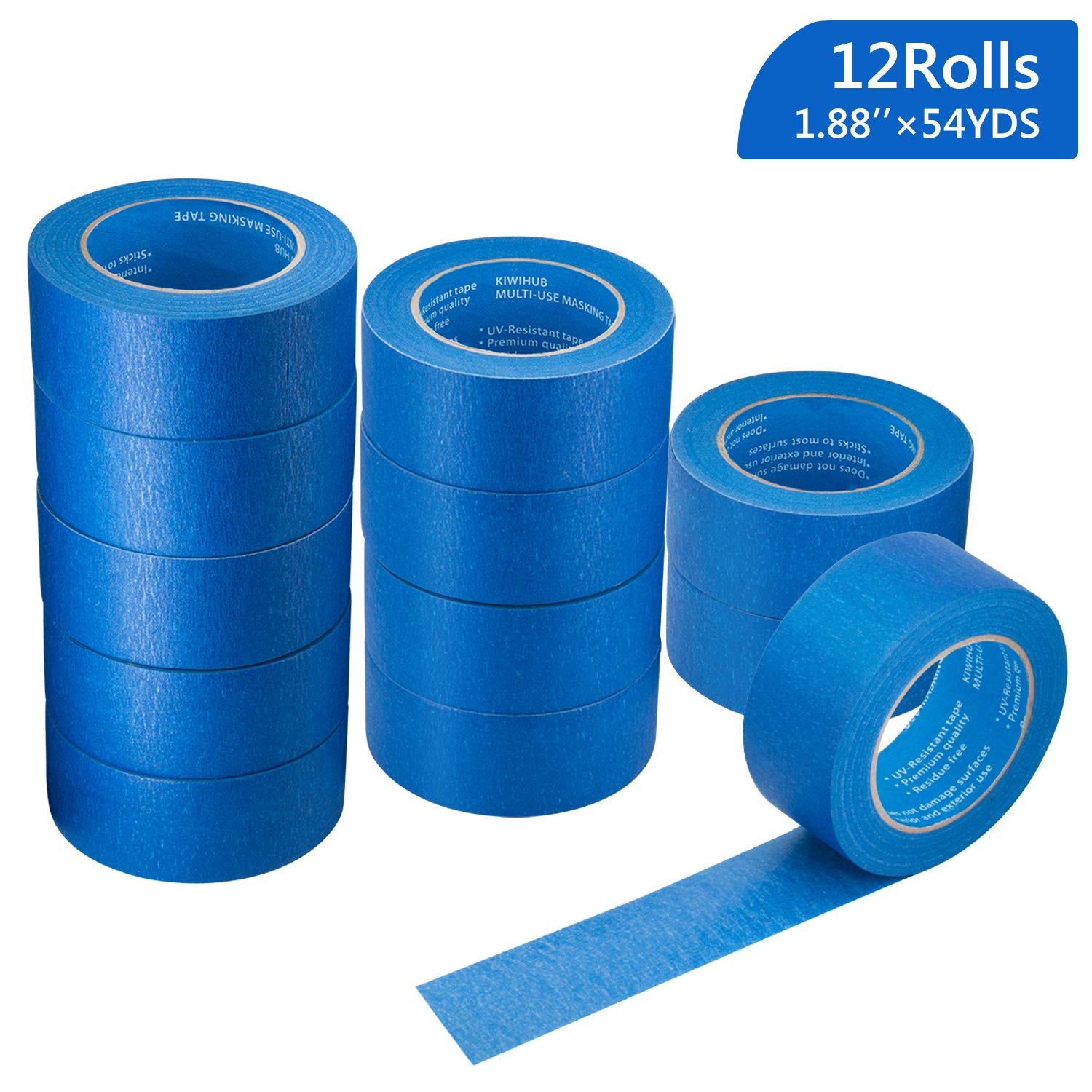 12 Rolls 2'' (1.88''/48mm) X 54 YDs Pro-Grade Blue Painters Tape, Medium Adhesive That Sticks Well but Leaves no Residue Behind by KIWIHUB by KIWIHUB