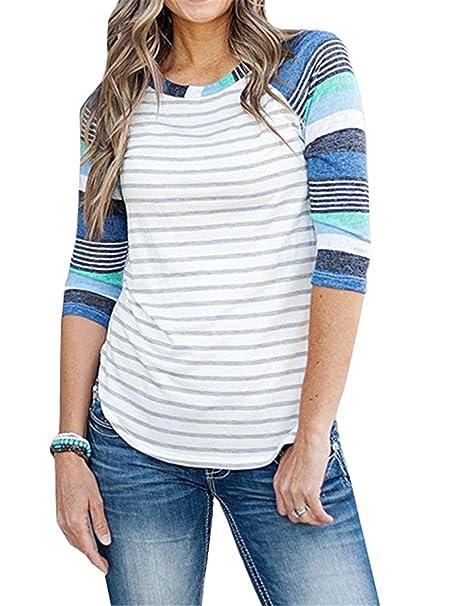 Haroty Mujer Primavera Otoño Nuevo Camisetas Redondo Manga Larga Blusas Multicolor Rayas Patchwork Tops Moda Elegante