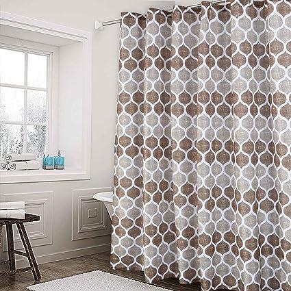 Haperlare Fabric Shower Curtain Moroccan Geometric Design For Bathroom Heavy Textured