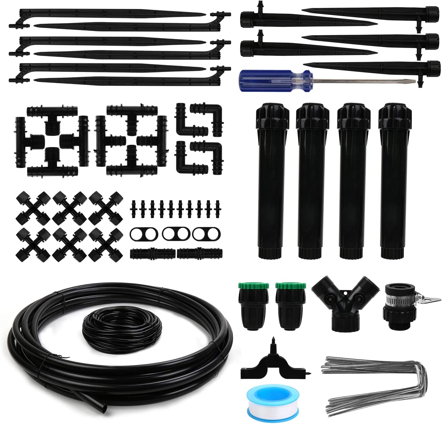 """OUTFANDIA 2020 Garden Irrigation System for Large Garden House. 1/2"""" Blank Distribution Tubing 100ft Watering Drip Kit/DIY Saving Water Automatic Irrigation Equipment Set with Strong Flow."""