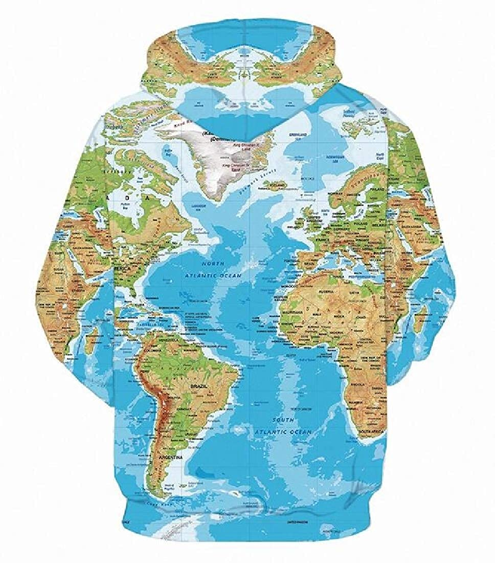XQS Mens Long Sleeve Hoodie Sweatshirt Map Casual Pullover Top