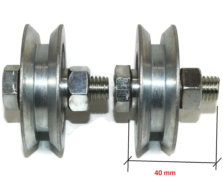 V58/–12 58/mm Durchmesser//–/12/mm Schaft 2/St/ück Schiebet/ür Tor Rollen Seilzug R/äder V Groove Stahl Wheels Made in der EU