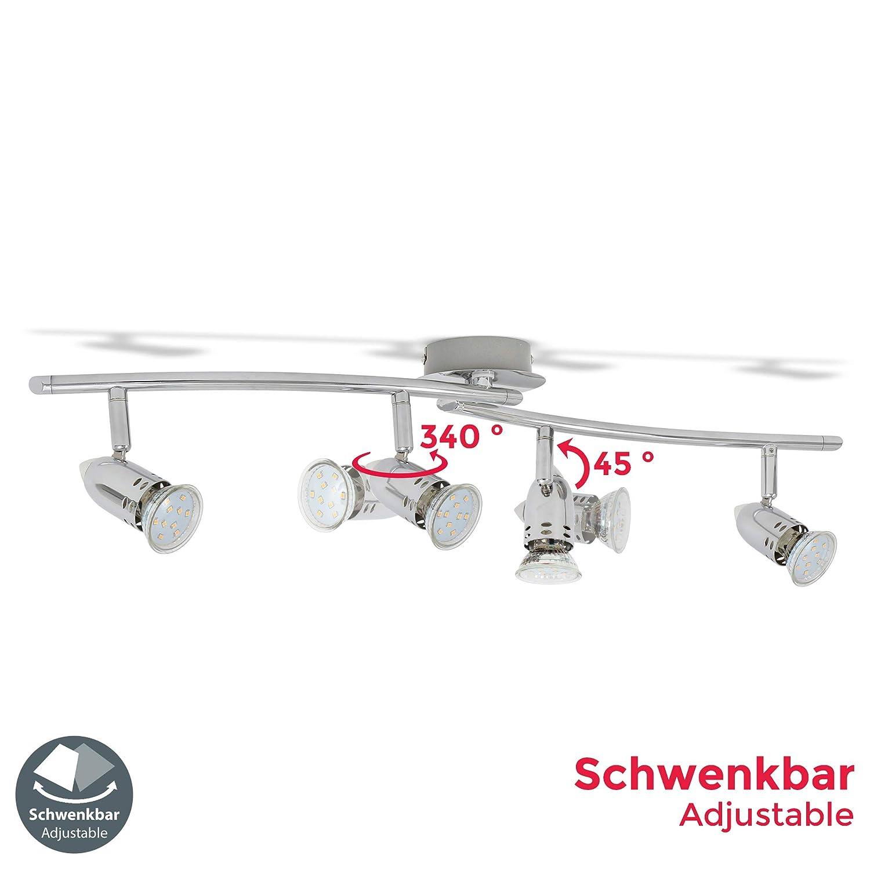 Color cromo Metal L/ámpara de techo con focos giratorios incl 4 bombillas LED de 3W GU10 230V Luz blanco c/álido 3000K 250lm IP20