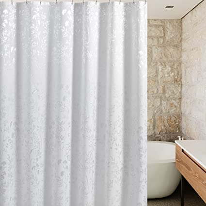 Amazon.com: UFRIDAY White Fabric Shower Curtain Liner Polyester ...