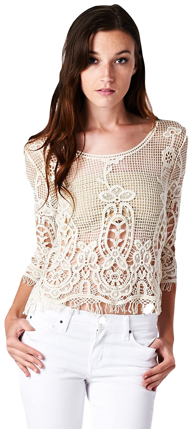 a701cc302f3 Women's 3/4 Sleeve Lovely Crochet Knit Mesh Top with Short Fringe Trim  (Small) at Amazon Women's Clothing store: