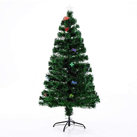13f027254d650 HOMCOM Árbol de Navidad 120cm Artificial Árbol con Soporte Metálico Luces  LED Adornos Verde Natural Material