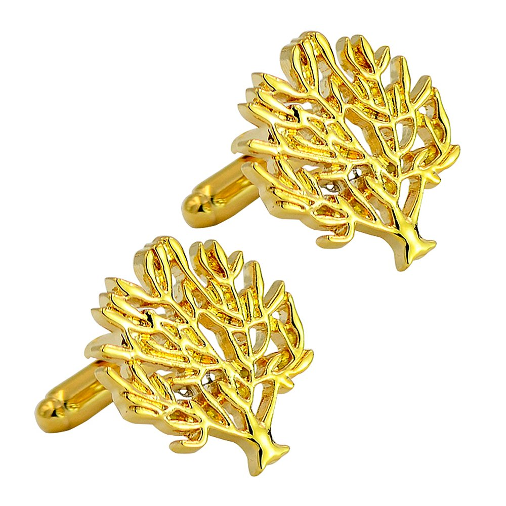 gold-plated love & lucky tree cufflinks luxury bullet cufflinks brass elegant fashion cufflinks Daptsy