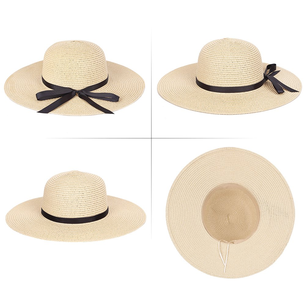 Sun Hats UV Protection Wide Brim Summer Hat UPF 50+, Foldable Floppy Travel Packable Beach Hats (Beige-01) by teemzone (Image #2)
