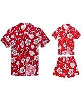 088e66d9 Matching Father Son Hawaiian Luau Outfit Men Shirt Boy Shirt Shorts PW Red  Hibiscus
