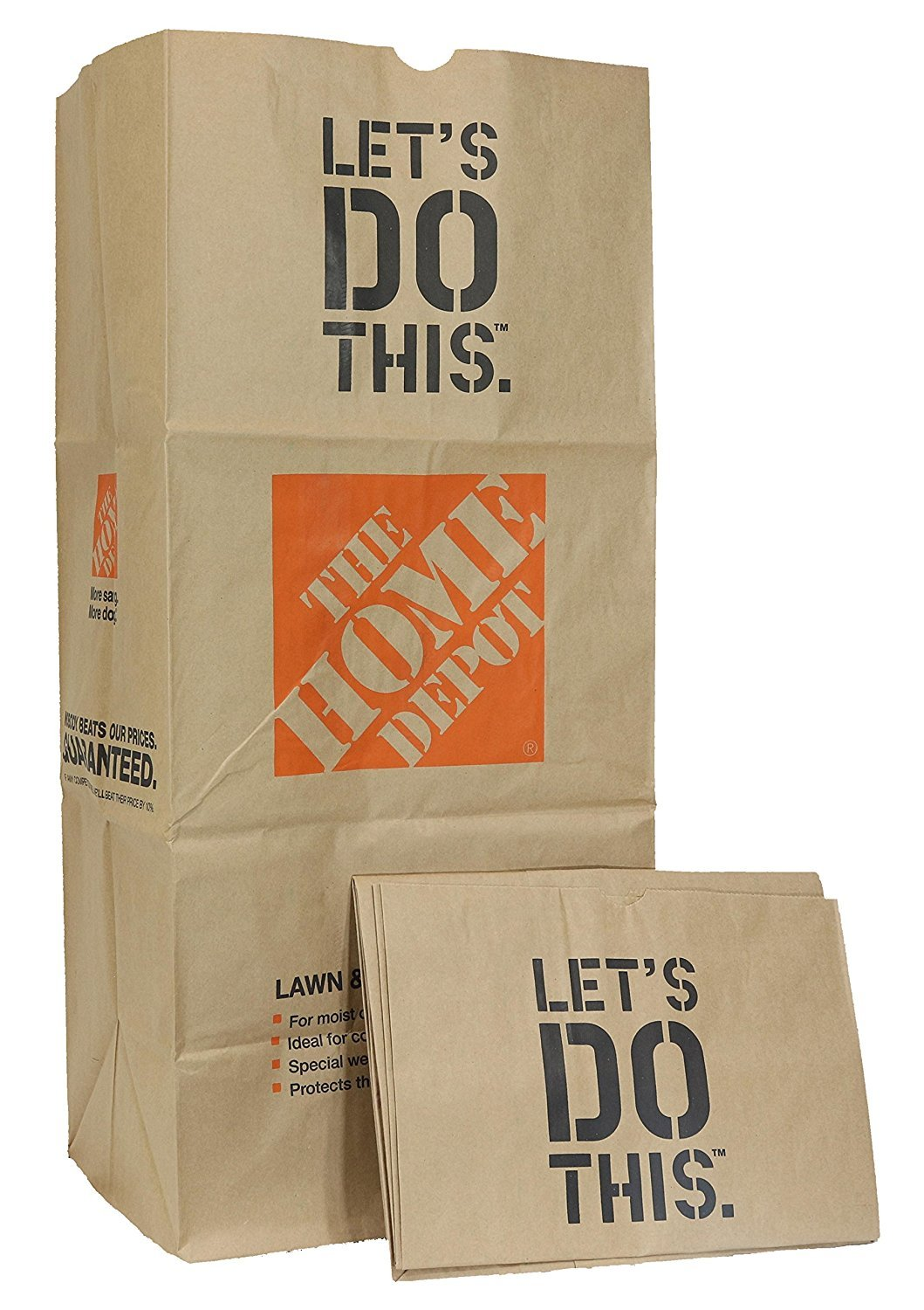 Home Depot Heavy Duty Brown Paper 30 Gallon Lawn and Refuse Bags for Home and Garden (70 Lawn Bags) by Home Depot