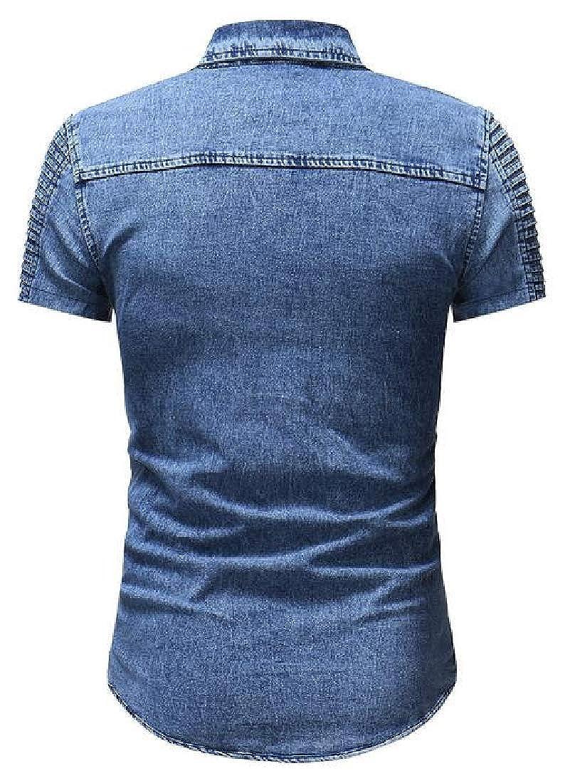 Bloomyma Mens Button Down Ruched Summer Short Sleeve Regular Fit Denim Work Western Shirt