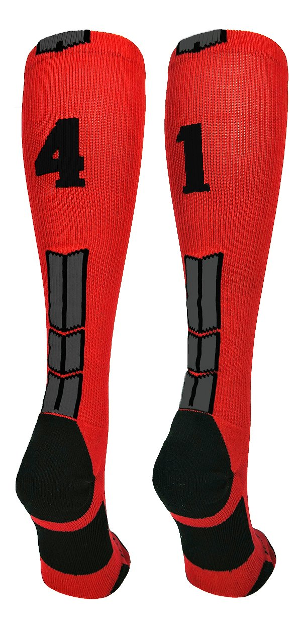 MadSportsStuff Red/Black Player Id Over The Calf Number Socks (#41, Medium)