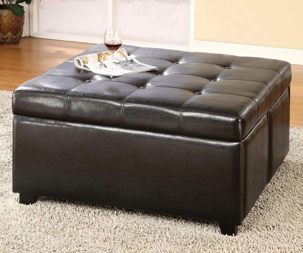 Amazon com furniture of america cm bn6381 petula 4 drawer storage living room ottoman kitchen dining