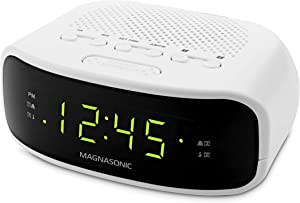Magnasonic Digital AM/FM Clock Radio with Battery Backup, Dual Alarm, Sleep & Snooze Functions, Display Dimming Option,White (EAAC201)