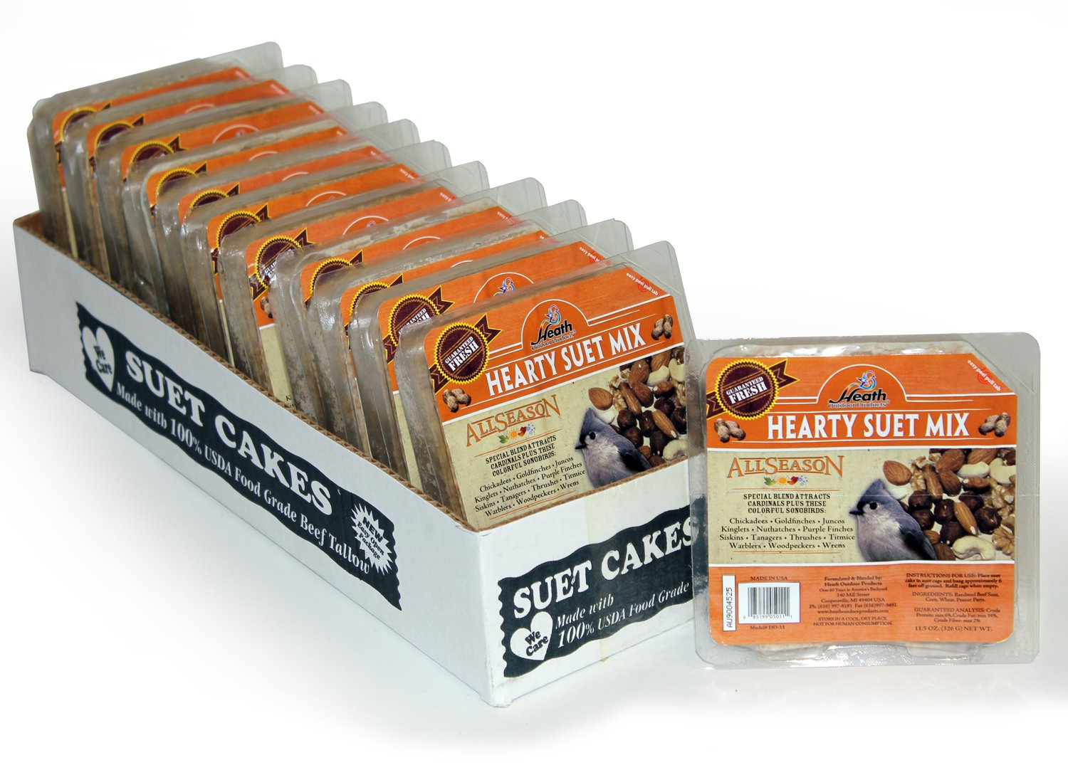 Heath Outdoor Products DD-11 Hearty Suet Mix Cake, Case Of 12 by Heath Outdoor Products