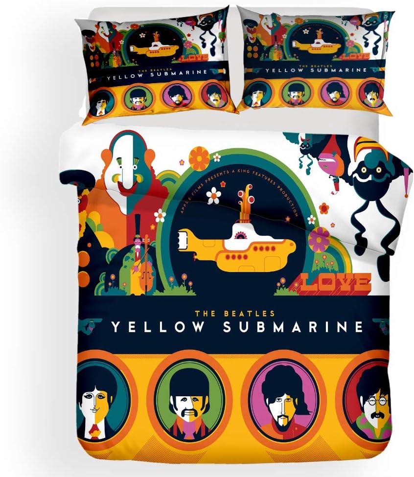 NYLIN Fundas Nórdicas The Beatles Juego De Ropa De Cama Banda Rock Britpop Colcha 2/3/4PCS Fundas De Edredón Nórdico/Almohada/Sábanas,para Cama 90/135/150/180 (140×210cm-Cama 80/90-3PCS,06): Amazon.es: Hogar