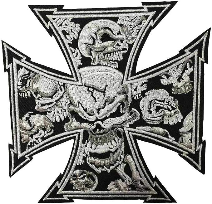 Skull Tattoo Biker Cross Chopper Iron On Embroidered Patch: Amazon ...