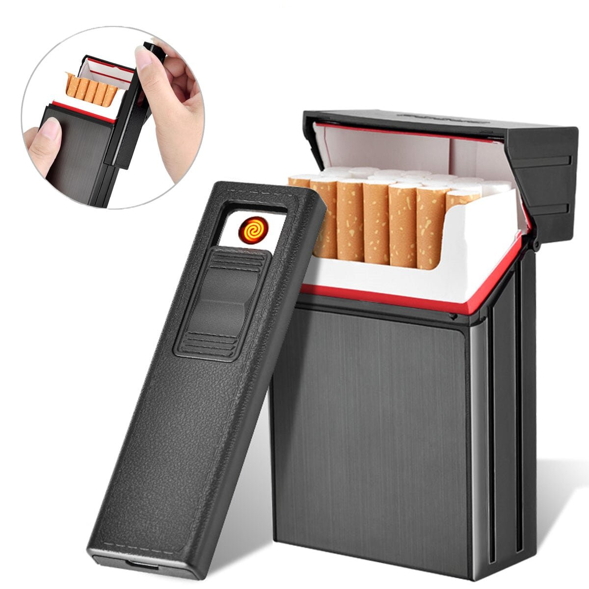 LORWING Cigarette Case Module with Electric Lighter USB Separable Rechargeable for Whole Package Cigarettes 20pcs King Size