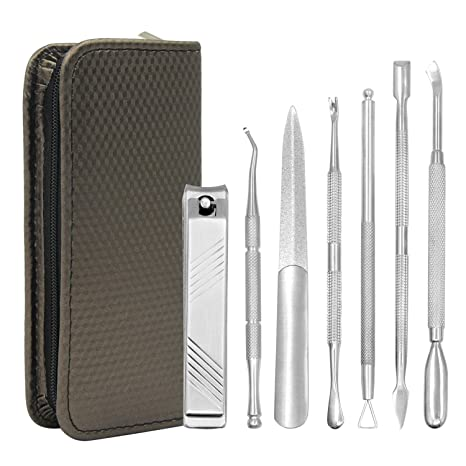 Becoyou - Juego de herramientas para manicura y pedicura, 7 piezas, cortador de cutículas, limas de uñas, acero inoxidable, kit de herramientas ...