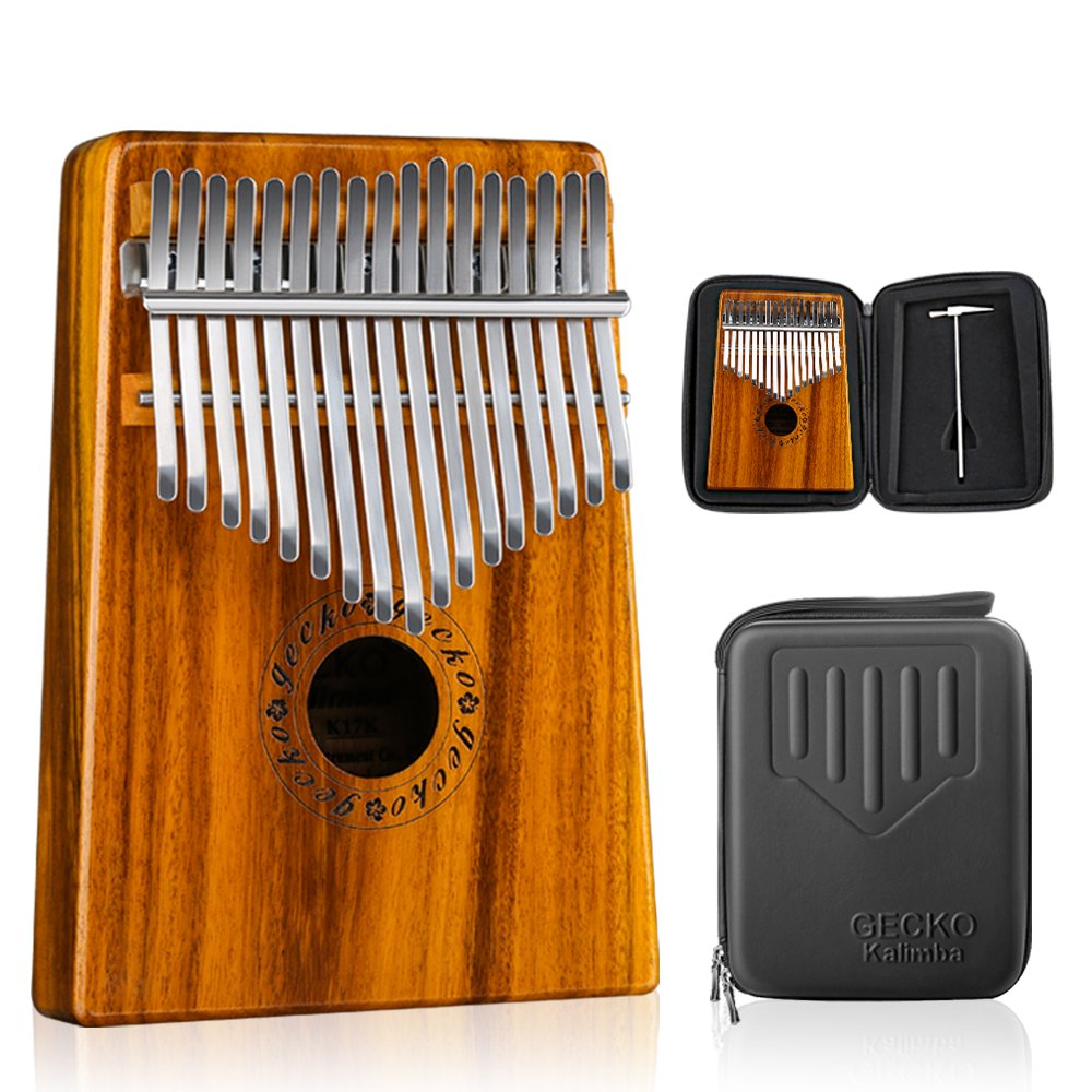 GECKO Kalimba 17 Keys Thumb Piano builts-in EVA high-performance protective box, tuning hammer and study instruction. K17MBR