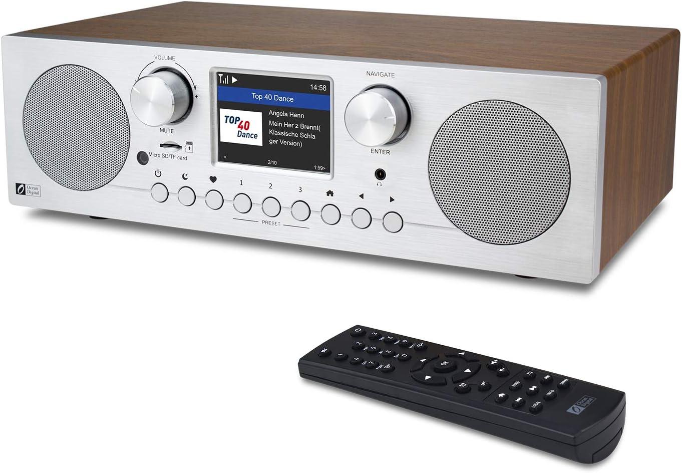 Ocean Digital WiFi/FM/Dab + / Dab Radio por Internet, WR-800D con Reloj Despertador Dual, reproducción de Tarjeta Micro SD/TF y Pantalla a Color de 2.8