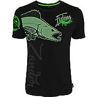 HOTSPOT DESIGN Fishing Mania Zander, Negro, Camiseta,