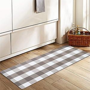 "Non Slip Laundry Room Rug Runner Printed Waterproof Rubber Kitchen Floor Mat Doormat Buffalo Plaid Check Rug (20""x48"", Grey)"