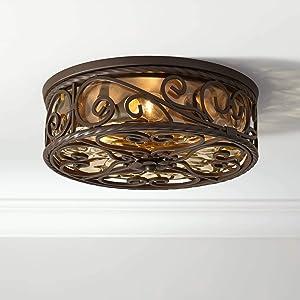 Casa Seville Rustic Farmhouse Outdoor Ceiling Light Fixture Dark Walnut Metal Scroll Twist 15