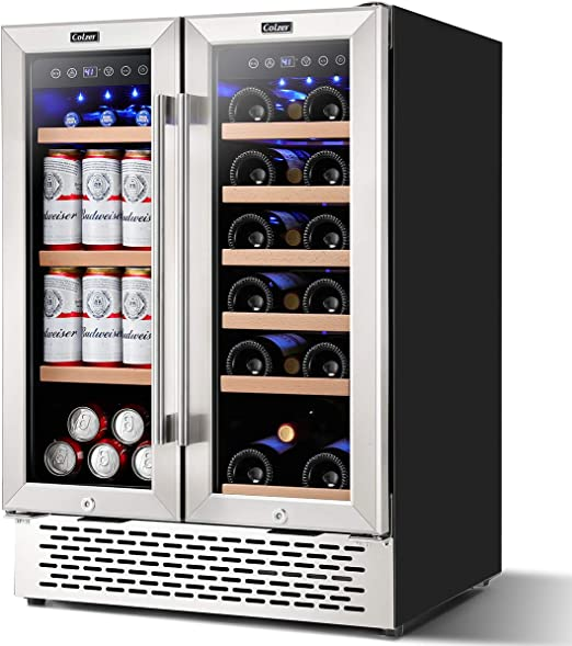 Colzer 24 Inch Beverage And Wine Cooler Dual Zone Wine Beverage Refrigerator 18 Bottles And 57 Cans 120l Beer Wine Soda And Drink Appliances