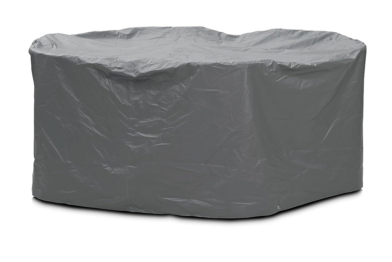 Eigbrecht 140242 Robusta Abdeckhaube Schutzhülle mit Abhang für Sitzgruppe oval grau 210x250x90cm